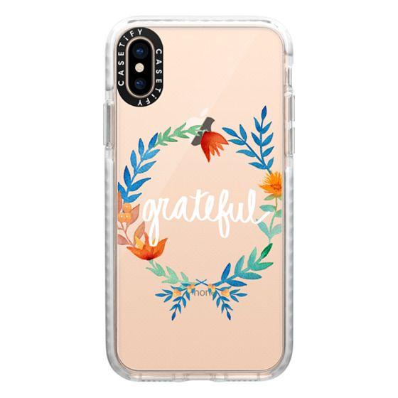 iPhone XS Cases - Grateful Floral Watercolors Seasonal Fall Thanksgiving