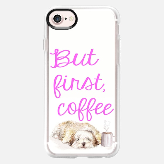 But first- coffee-  sleepy havanese puppy watercolor pet portrait with coffee -