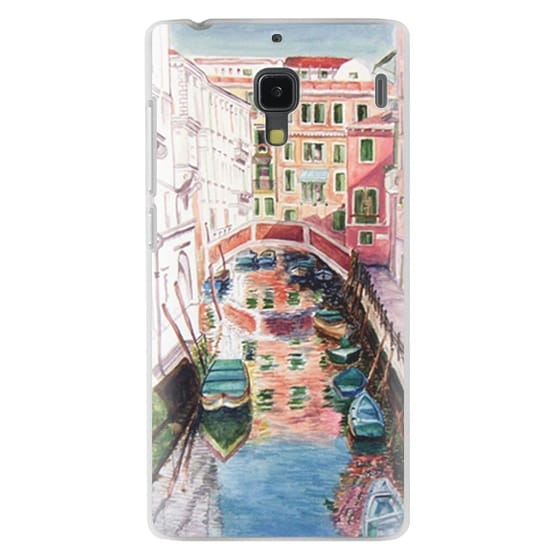 Watercolor Painting Venice Italy Canal Canoe Landscape Venetian