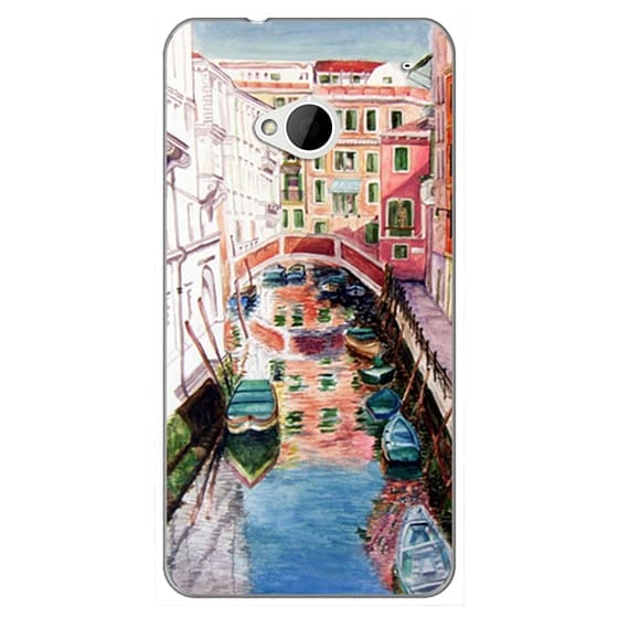 Htc One Cases - Watercolor Painting Venice Italy Canal Canoe Landscape Venetian