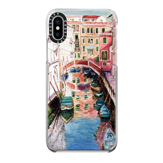 iPhone X Cases - Watercolor Painting Venice Italy Canal Canoe Landscape Venetian