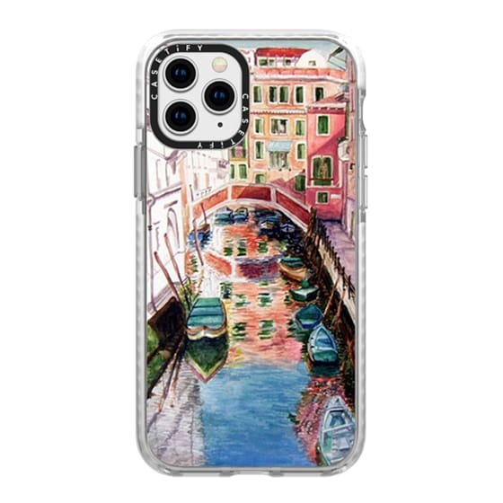 iPhone 11 Pro Cases - Watercolor Painting Venice Italy Canal Canoe Landscape Venetian