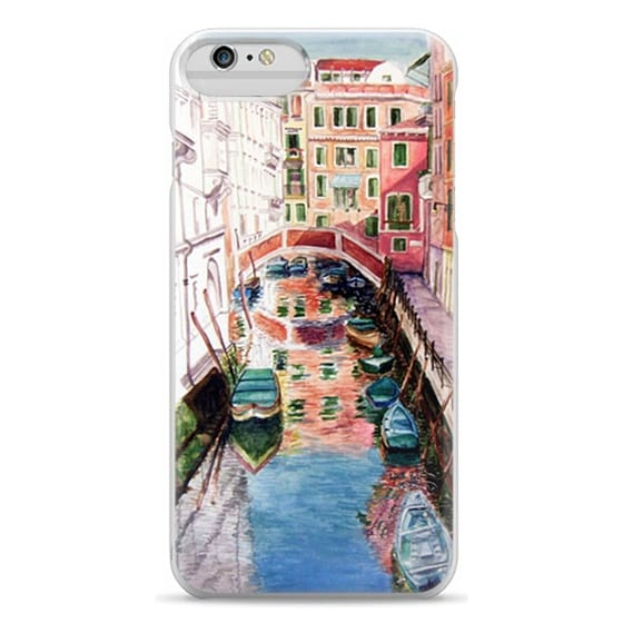 iPhone 6 Plus Cases - Watercolor Painting Venice Italy Canal Canoe Landscape Venetian