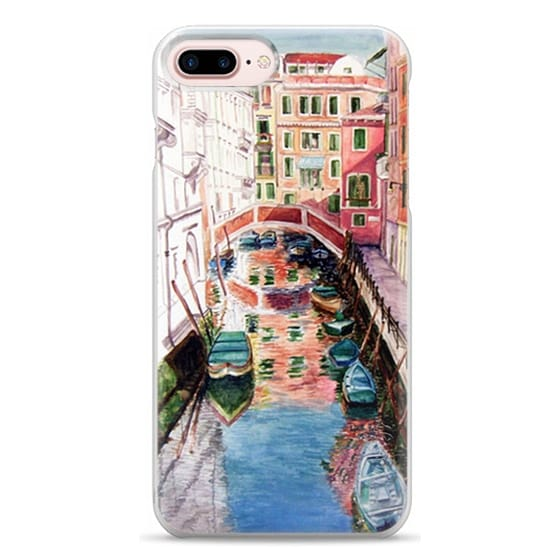 iPhone 7 Plus Cases - Watercolor Painting Venice Italy Canal Canoe Landscape Venetian