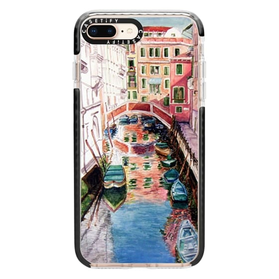 iPhone 8 Plus Cases - Watercolor Painting Venice Italy Canal Canoe Landscape Venetian