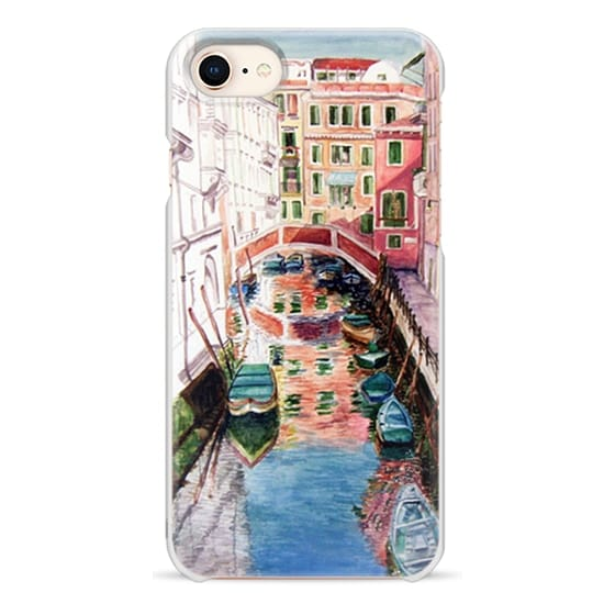iPhone 8 Cases - Watercolor Painting Venice Italy Canal Canoe Landscape Venetian