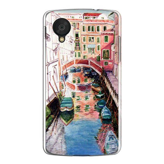Nexus 5 Cases - Watercolor Painting Venice Italy Canal Canoe Landscape Venetian