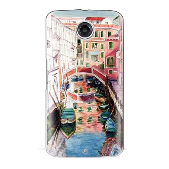 Nexus 6 Cases - Watercolor Painting Venice Italy Canal Canoe Landscape Venetian