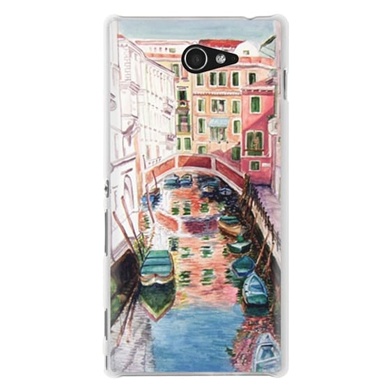 Sony M2 Cases - Watercolor Painting Venice Italy Canal Canoe Landscape Venetian