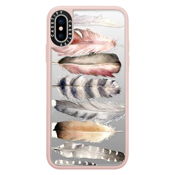 iPhone X Cases - Watercolor feathers