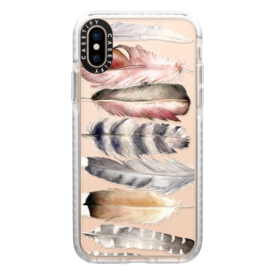 iPhone XS Cases - Watercolor feathers