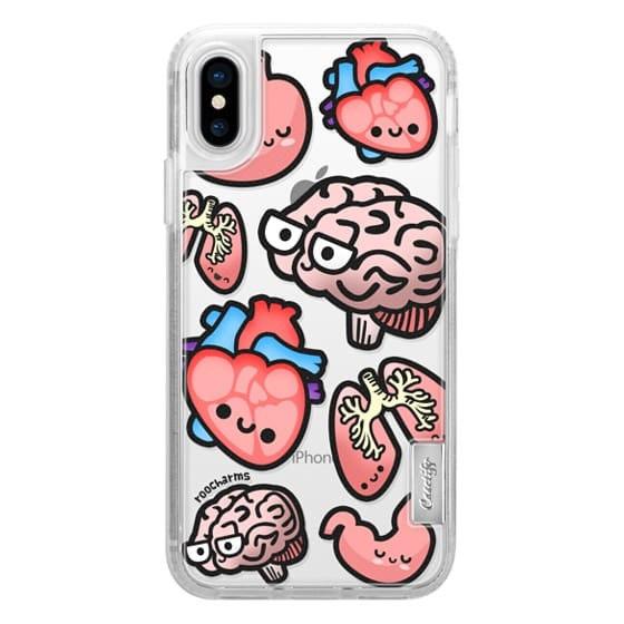 iPhone X Cases - Love Your Anatomy // Illustrated Cute Science Biology Heart Brain Lung Stomach roocharms