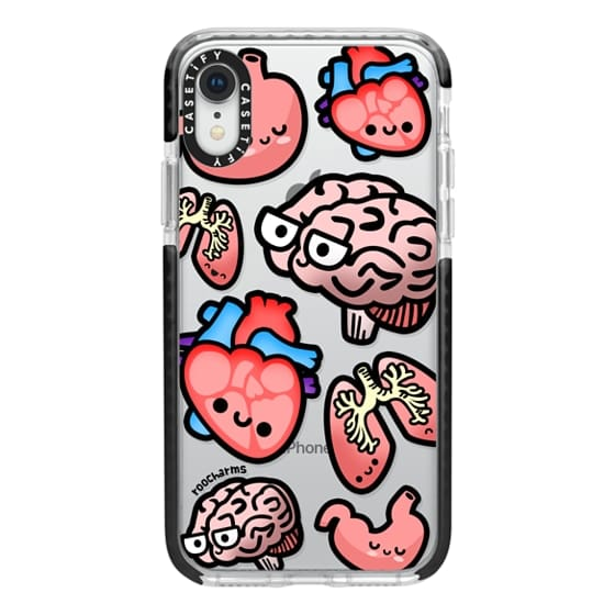 iPhone XR Cases - Love Your Anatomy // Illustrated Cute Science Biology Heart Brain Lung Stomach roocharms