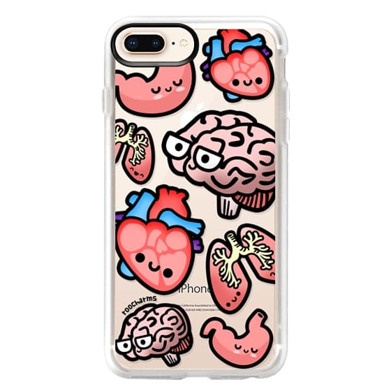 iPhone 8 Plus Cases - Love Your Anatomy // Illustrated Cute Science Biology Heart Brain Lung Stomach roocharms