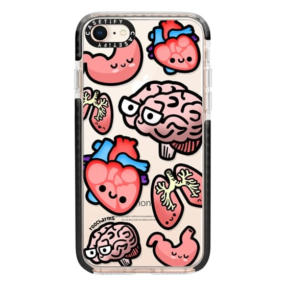iPhone 8 Cases - Love Your Anatomy // Illustrated Cute Science Biology Heart Brain Lung Stomach roocharms