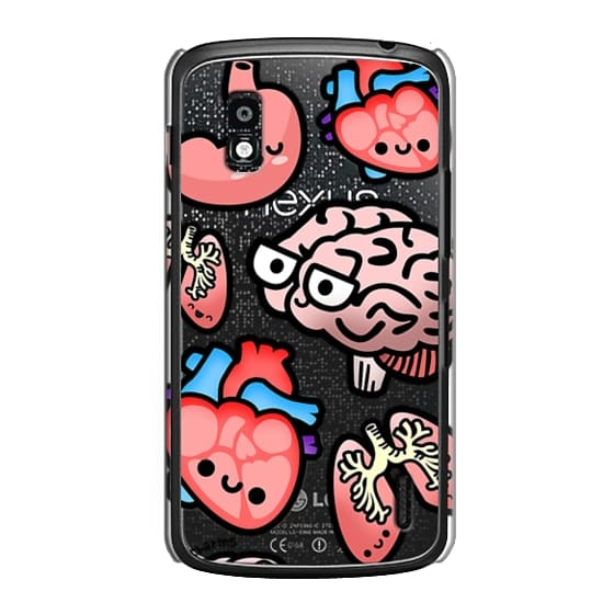 Nexus 4 Cases - Love Your Anatomy // Illustrated Cute Science Biology Heart Brain Lung Stomach roocharms