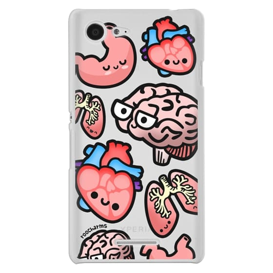 Sony E3 Cases - Love Your Anatomy // Illustrated Cute Science Biology Heart Brain Lung Stomach roocharms