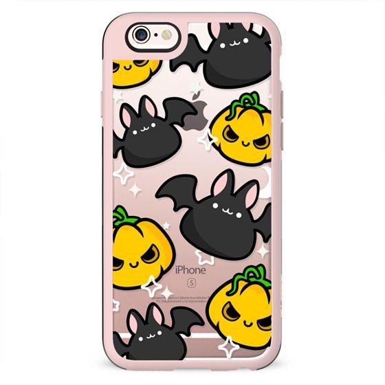 Halloween Pumpkins and Bats, Halloween Clear Case, Cute Halloween, Cute Bat Case, Cute Pumpkin Case, Clear Halloween Case, designed by roocharms