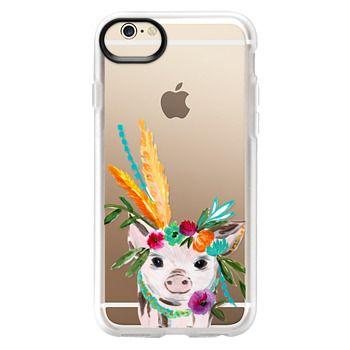 Grip iPhone 6 Case - boho pig miss piggy floral flowers bouquet crown feathers by Bari J.