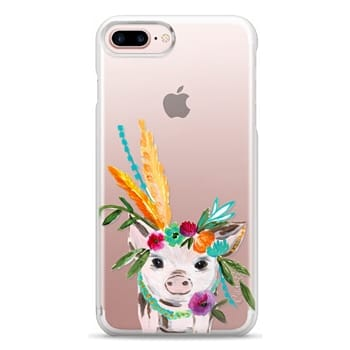 Snap iPhone 7 Plus Case - boho pig miss piggy floral flowers bouquet crown feathers by Bari J.