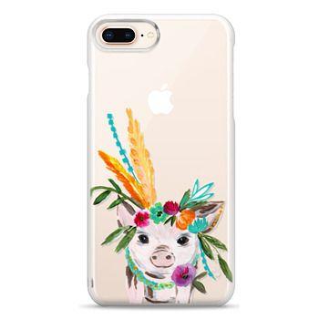 Snap iPhone 8 Plus Case - boho pig miss piggy floral flowers bouquet crown feathers by Bari J.
