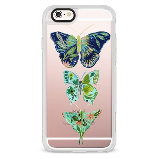 Boho butterfly trio painted floral flowers bohemian by Bari J.