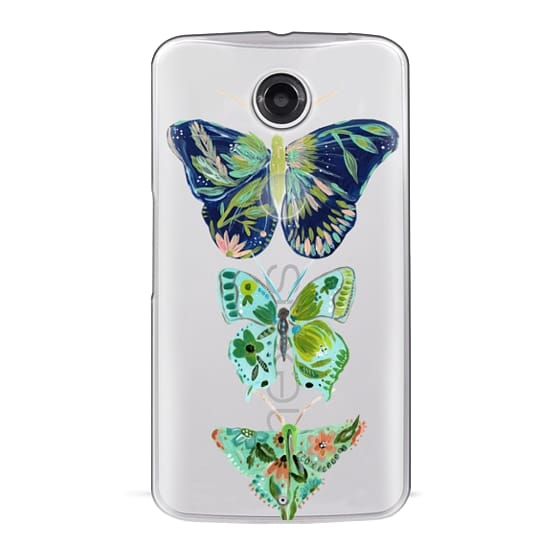 Nexus 6 Cases - Boho butterfly trio painted floral flowers bohemian by Bari J.
