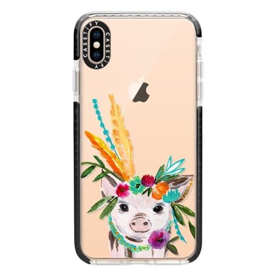 iPhone XS Max Cases - boho pig miss piggy floral flowers bouquet crown feathers by Bari J.