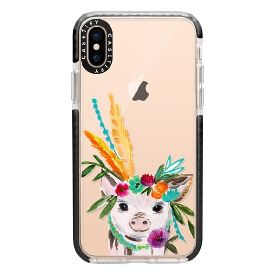 iPhone XS Cases - boho pig miss piggy floral flowers bouquet crown feathers by Bari J.