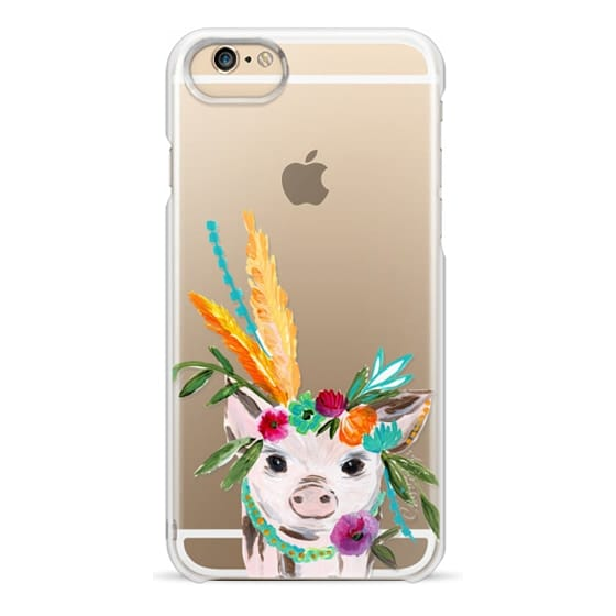 iPhone 6 Cases - boho pig miss piggy floral flowers bouquet crown feathers by Bari J.