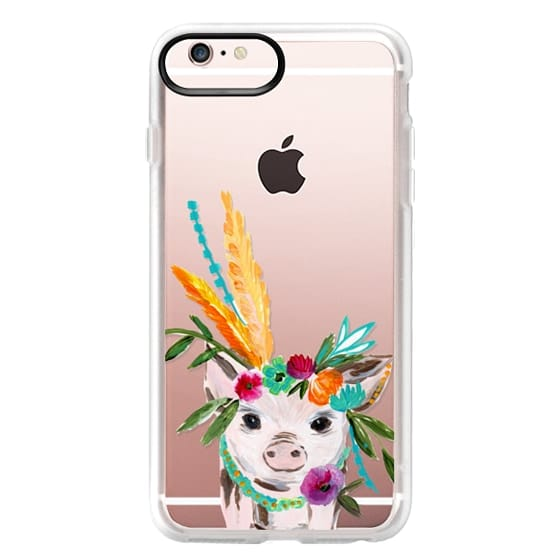 iPhone 6s Plus Cases - boho pig miss piggy floral flowers bouquet crown feathers by Bari J.
