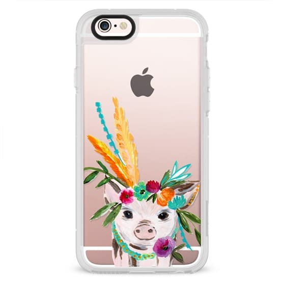 iPhone 4 Cases - boho pig miss piggy floral flowers bouquet crown feathers by Bari J.