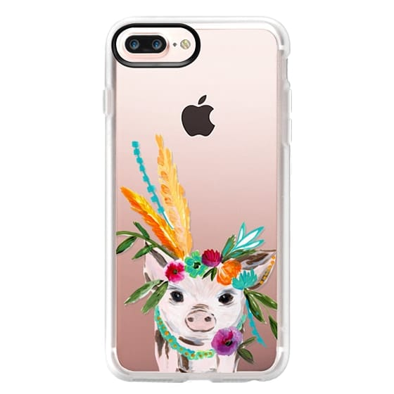 iPhone 7 Plus Cases - boho pig miss piggy floral flowers bouquet crown feathers by Bari J.