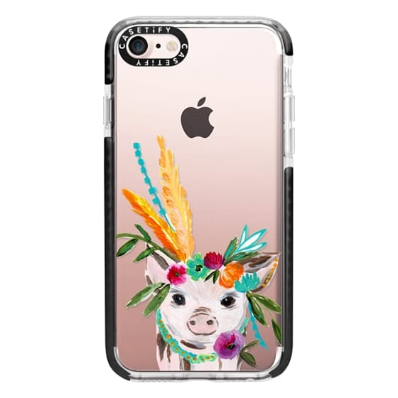 iPhone 7 Cases - boho pig miss piggy floral flowers bouquet crown feathers by Bari J.