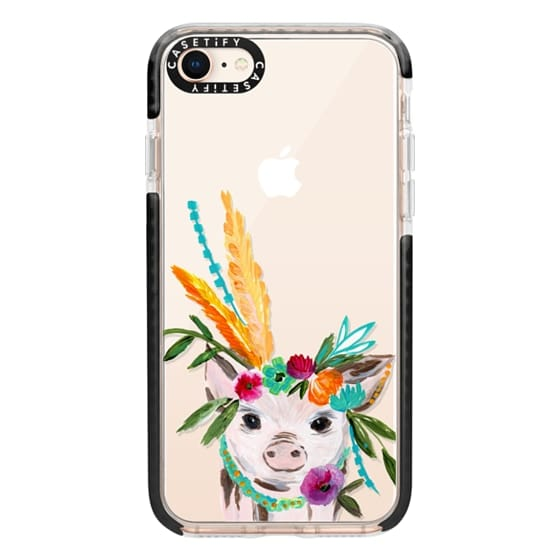 iPhone 8 Cases - boho pig miss piggy floral flowers bouquet crown feathers by Bari J.