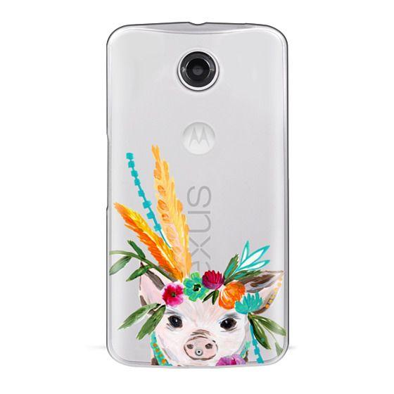 Nexus 6 Cases - boho pig miss piggy floral flowers bouquet crown feathers by Bari J.