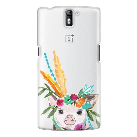 One Plus One Cases - boho pig miss piggy floral flowers bouquet crown feathers by Bari J.
