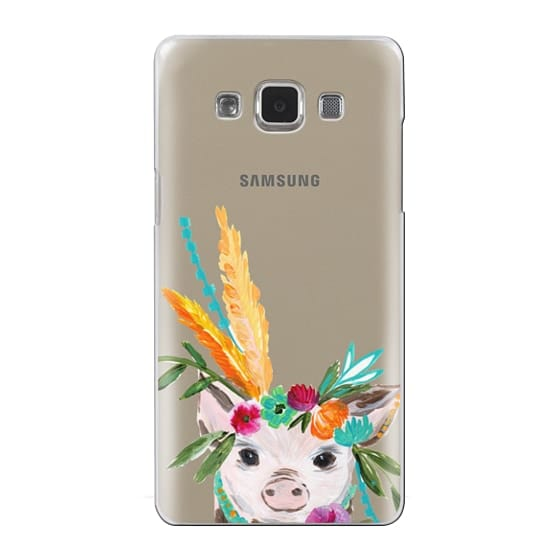 Samsung Galaxy A5 Cases - boho pig miss piggy floral flowers bouquet crown feathers by Bari J.