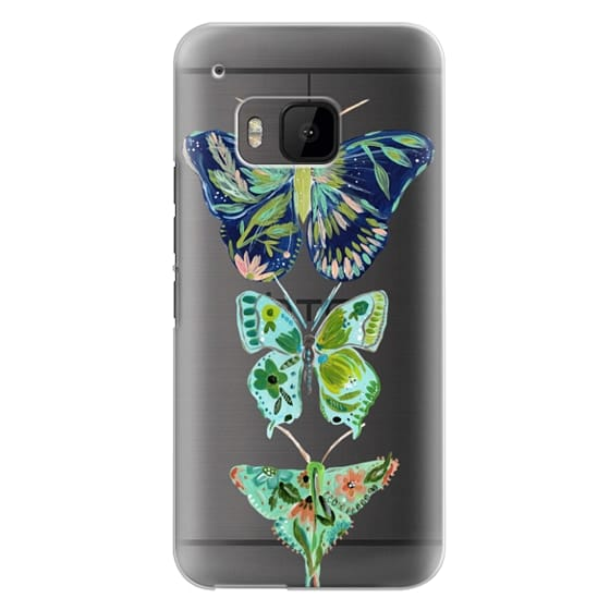 Htc One M9 Cases - Boho butterfly trio painted floral flowers bohemian by Bari J.