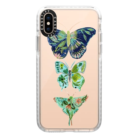 iPhone XS Cases - Boho butterfly trio painted floral flowers bohemian by Bari J.