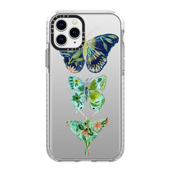 iPhone 11 Pro Cases - Boho butterfly trio painted floral flowers bohemian by Bari J.