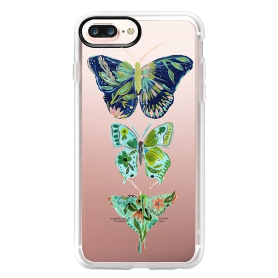 iPhone 7 Plus Cases - Boho butterfly trio painted floral flowers bohemian by Bari J.