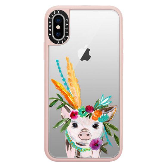iPhone X Cases - boho pig miss piggy floral flowers bouquet crown feathers by Bari J.