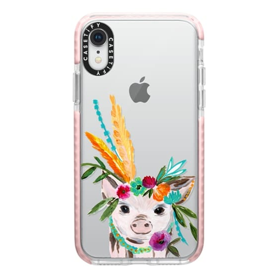 iPhone XR Cases - boho pig miss piggy floral flowers bouquet crown feathers by Bari J.