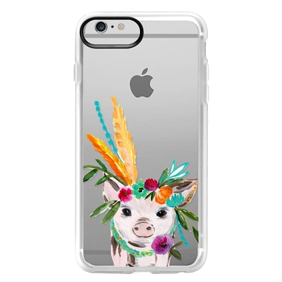 iPhone 6 Plus Cases - boho pig miss piggy floral flowers bouquet crown feathers by Bari J.