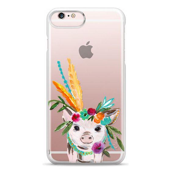 iPhone 6s Plus Cases - boho pig miss piggy floral flowers bouquet crown feathers by Bari J.