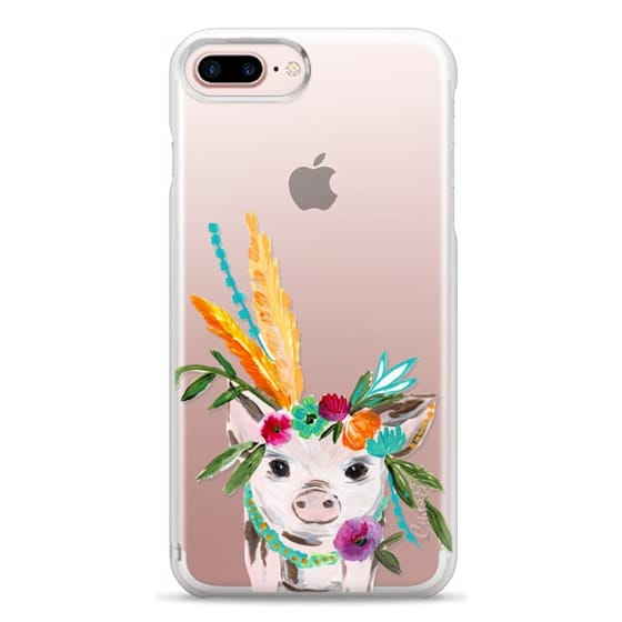 iPhone 7 Plus Cases - boho pig miss piggy floral flowers bouquet crown feathers by Bari J.