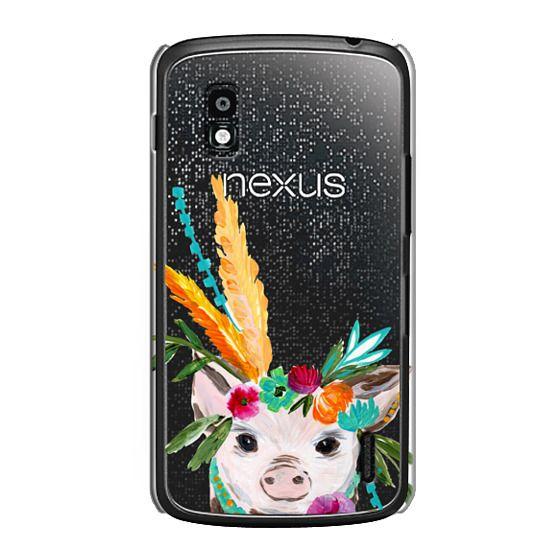 Nexus 4 Cases - boho pig miss piggy floral flowers bouquet crown feathers by Bari J.