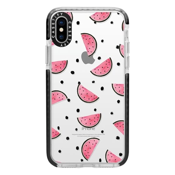 iPhone X Cases - watercolor Pink and gold Watermelon fruit with black ink dots pattern clear case
