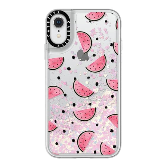iPhone XR Cases - watercolor Pink and gold Watermelon fruit with black ink dots pattern clear case